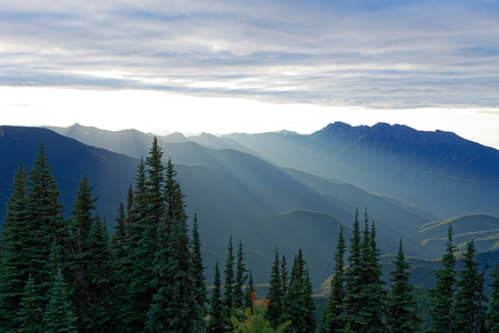 Photo for Sun setting behind the Olympic Mountains on Olympic National Park, Washington - Royalty Free Image