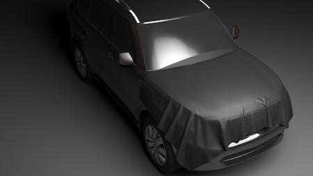 Foto de SUV with wrapped hood. High quality  photo realistic render - Imagen libre de derechos