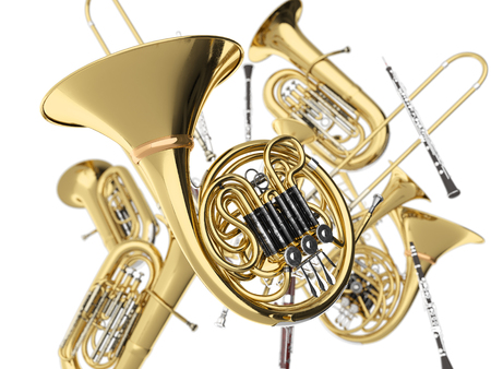 Photo for Wind musical instruments  on white. 3d render - Royalty Free Image