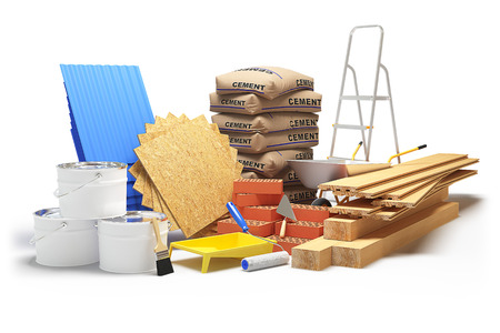 Photo for Construction materials isolated on white background. 3D rendering - Royalty Free Image