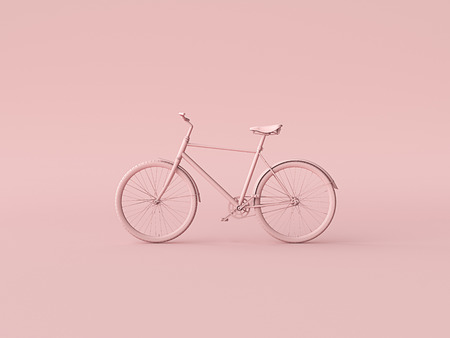 Foto de Ckassic vintage Bike mono color concept on pink color background copy space. 3d illustration - Imagen libre de derechos