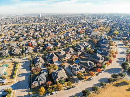 Photo for Top view row of single family houses in residential area with fa - Royalty Free Image