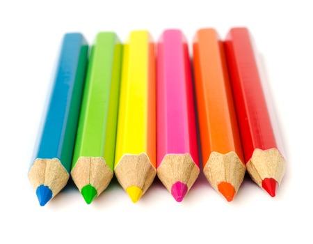 Photo pour close up of colour pencils isolated on white background . - image libre de droit