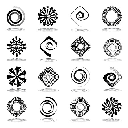 Ilustración de Design elements set. Spiral and rotation abstract icons. Vector art. - Imagen libre de derechos