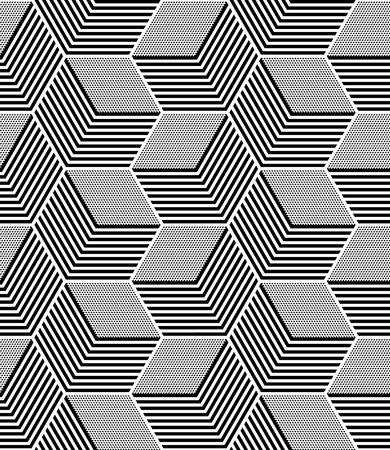 Ilustración de Seamless op art pattern. Geometric hexagons and diamonds texture. - Imagen libre de derechos