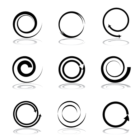 Illustration pour Spiral design elements set. Vector art. - image libre de droit