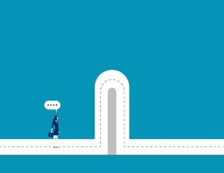 Ilustración de Businesswoman with break barriers. Concept business illustration. Vector business character and abstract. - Imagen libre de derechos