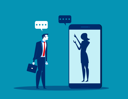 Illustrazione per Businessman talking with anonymous person inside of smartphone. Concept business vector illustration.   - Immagini Royalty Free