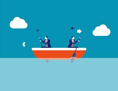 Ilustración de Leader and employee conflict. Concept business direction vector illustration, Boat, Direction, Problem. - Imagen libre de derechos