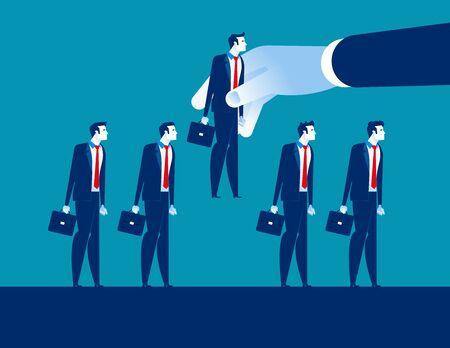 Illustrazione per Hand choosing business person, Concept business vector, Recruitment, Choice, Select. - Immagini Royalty Free