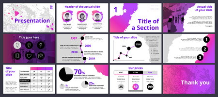 Ilustración de Design of a business presentation template with pink and violet gradient paint splashes and circle shapes. Vector set of infographic elements for marketing, advertising or annual report. - Imagen libre de derechos