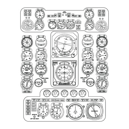 Illustration pour Black flight instrument panel in the cockpit of an aircraft on white background. Provide pilot with information about the flight, altitude, airspeed and direction. - image libre de droit