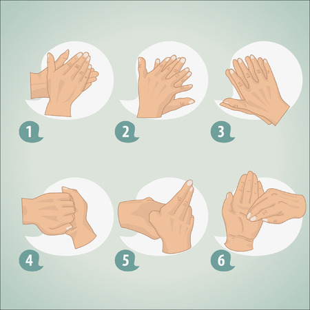 Illustration pour Hand washing procedure - image libre de droit