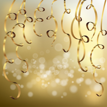 Elegant bokeh background with golden ribbons