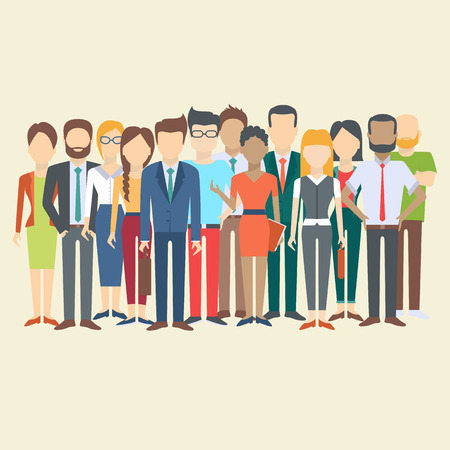 Illustration pour Set of business people, collection of diverse characters in flat cartoon style, vector illustration - image libre de droit