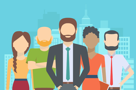 Ilustración de Set of business people, collection of diverse characters in flat cartoon style on the city background, vector illustration - Imagen libre de derechos