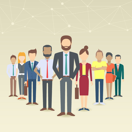 Ilustración de Set of business people, collection of diverse characters in flat cartoon style, vector illustration - Imagen libre de derechos