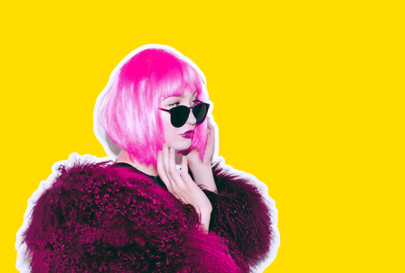 Foto de Acid crazy hot beautiful rock Girl in bright pink wig and sunglasses in lama leather swag style red fur winter coat. Dangerous rocky tired of party bored woman Ironically having fun. - Imagen libre de derechos