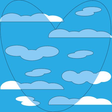 Illustration pour cloud heart pattern background blue symbol flat - image libre de droit