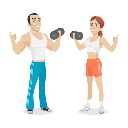 Ilustración de Guy and girl hold in dumbbell hand - Imagen libre de derechos