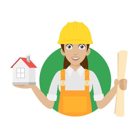 Ilustración de Builder woman keeps house and plan - Imagen libre de derechos