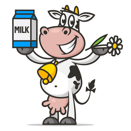 Illustration for Cheerful cow holds flower and packaging milk - Royalty Free Image
