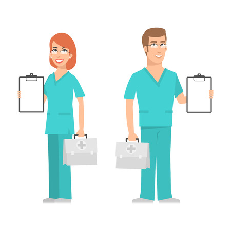 Illustration pour Nurse and doctor holding suitcase and smiling - image libre de droit