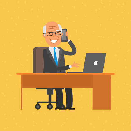 Illustration pour Old businessman talking on phone - image libre de droit