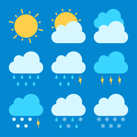 Illustration pour Weather forecast icon sets - image libre de droit