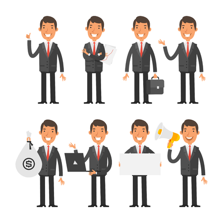 Illustration for Businessman in red tie in different poses - Royalty Free Image