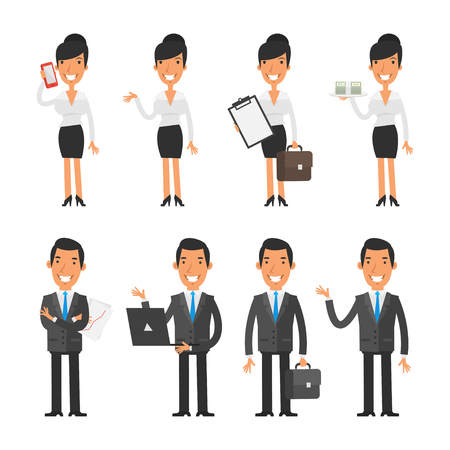Photo pour Set characters business woman and businessman - image libre de droit