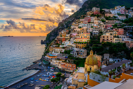 Foto de Sunset over Positano near Sorrento at Amalfi Coast in Italy - Imagen libre de derechos