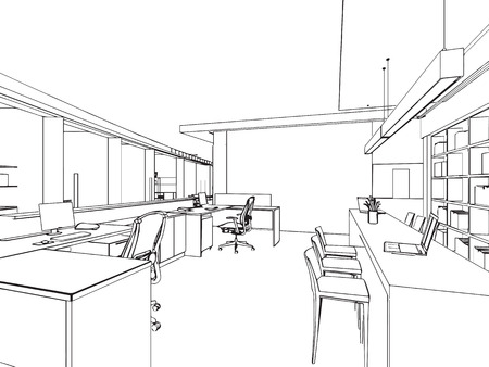 Illustration pour outline sketch drawing perspective of a interior space - image libre de droit