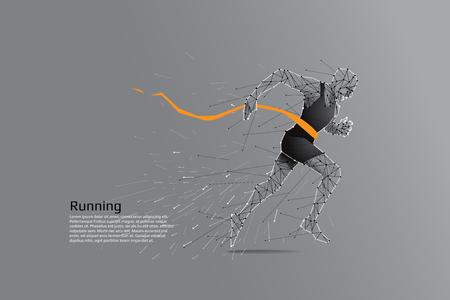 Ilustración de Running man. Motion art line dot concept. Vector illustration - Imagen libre de derechos