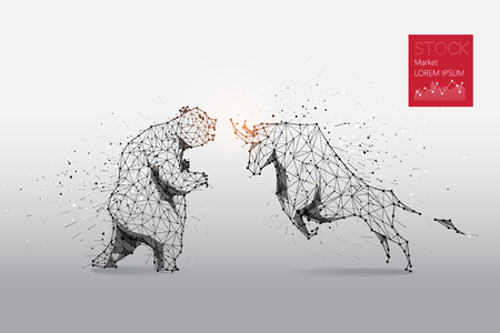 Illustration pour The particles, geometric art, line and dot of bear and bull abstract. Graphic design concept of stock market. - image libre de droit