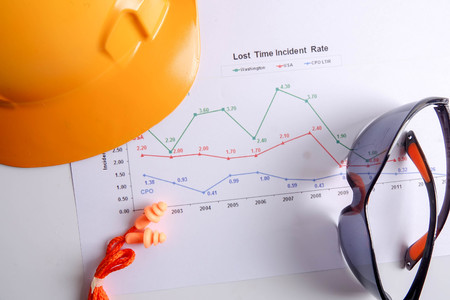 Photo pour Yellow hardhat safety helmet,safety glass and ear plug over accident statistic graph as a background. Industrial safety and health conceptual. - image libre de droit