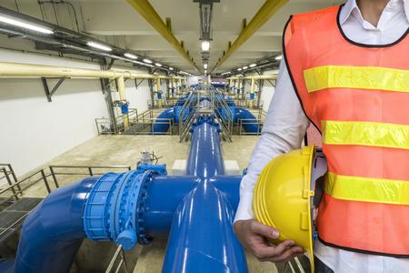 Photo pour Backwash water Pipeline in Water Treatment Plant - image libre de droit