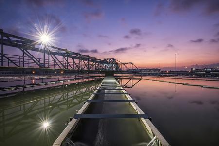 Photo pour Water Treatment Plant at twilight - image libre de droit