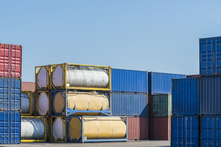 Foto per Fuel tank container in Logistic Zone - Immagine Royalty Free