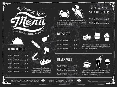 Illustration pour vector template Design Chalkboard menu for restaurant - image libre de droit
