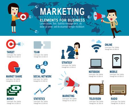 Photo pour marketing Concept. infographic elements, modern flat icon ,vector illustration. - image libre de droit