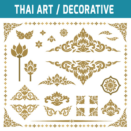 Ilustración de Set of Thai art element. For decorative motifs.Ethnic Art.gold, frame,decorate, vintage, antique,Flat icon modern design style vector illustration Thai art concept. - Imagen libre de derechos