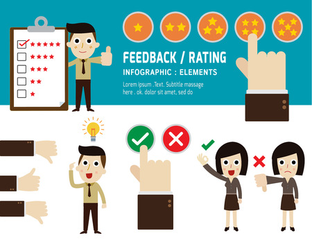 Illustration pour feedback and rating on customer service,vector,flat icons design,illustration,customer review concept,people cartoon character,hand choosing star positive review, - image libre de droit