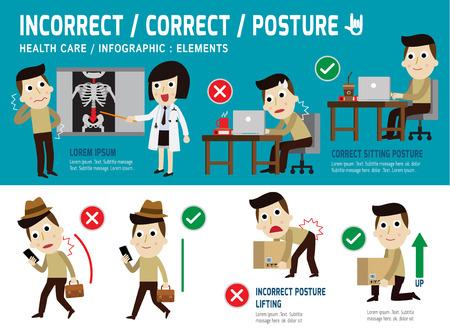 Photo pour orrect and incorrect posture, infographic element,sitting,lifting,walk,health care concept,vector,flat icons design,medical illustration - image libre de droit