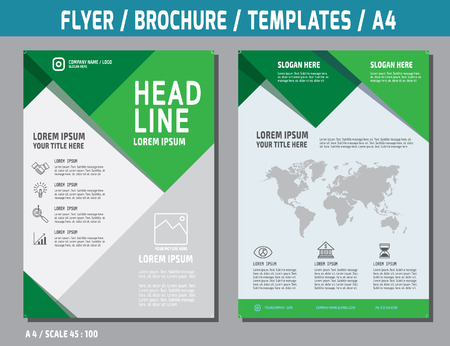 Ilustración de Flyer design vector template in A4 size.brochure booklet cover annual report layout.Business concept illustration. - Imagen libre de derechos