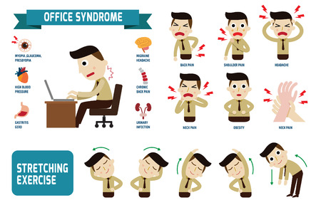 Illustrazione per Office syndrome Infographics.health concept. infographic element.vector flat icons cartoon design. illustration.on white background. isolated. - Immagini Royalty Free