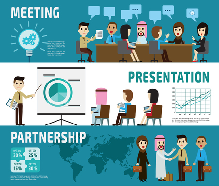 meeting. presentation. partnership. banner header.set of full body diverse business people.different nationalities and dress styles.character cartoon business concept.flat modern design.isolated