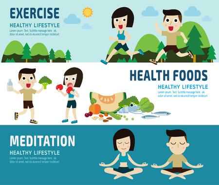Foto de exercise.healthy foods. meditating.banner header.healthcare concept.elements  infographic.vector flat modern icons design illustration.isolated on white and blue background. - Imagen libre de derechos