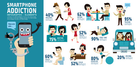 Ilustración de smart phone addiction.bad lifestyle concept.infographic element.vector flat icons cartoon character design.banner header. illustration.isolated on white and blue background. - Imagen libre de derechos