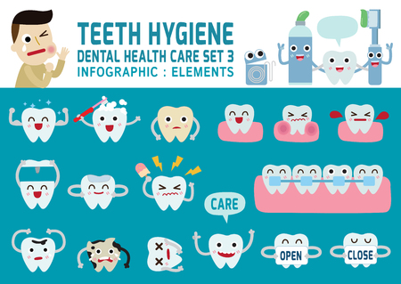 Illustration pour teeth hygiene.set of  tooth cute character design.flat modern icons design.infographic elements.health care concept. graphic illustration,dental banner header.isolated on blue background. - image libre de droit